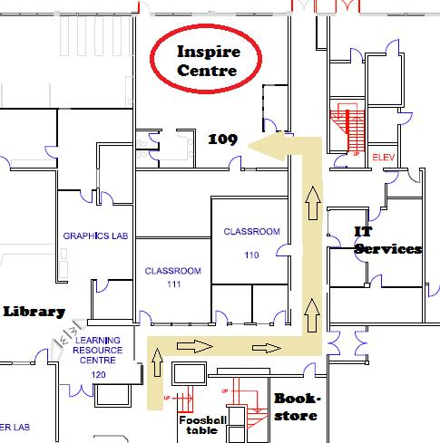 Inspire Centre room 109 map