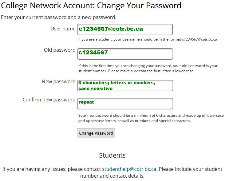 Change Password Screen