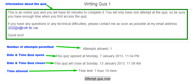 taking quizzes - directions
