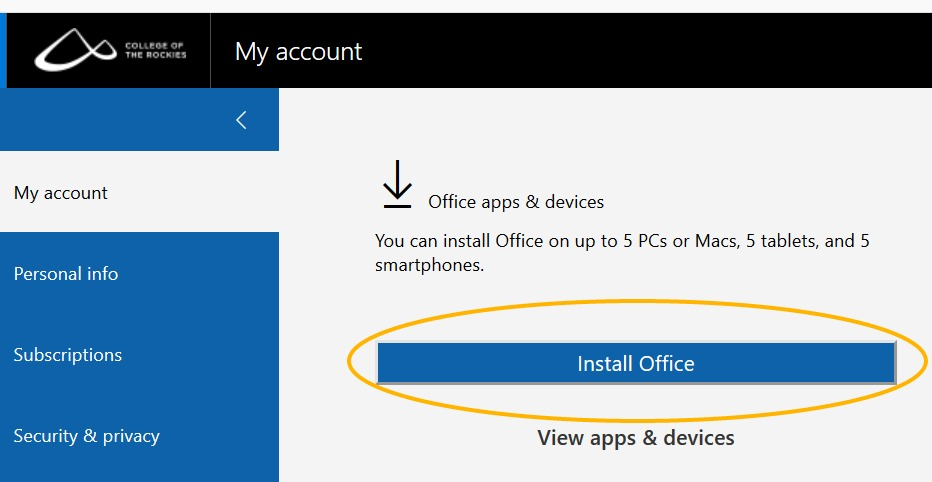 Install MS Office link