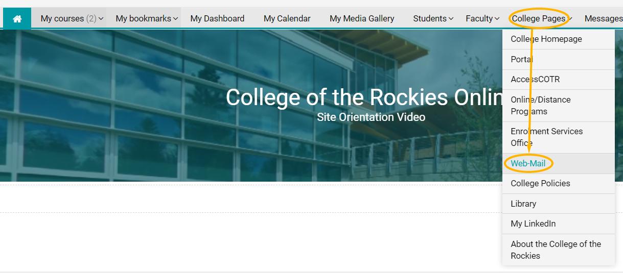 webmail login link in College Pages drop-down menu