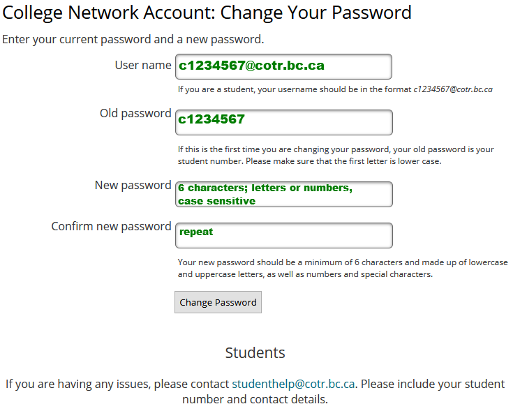 change network password page